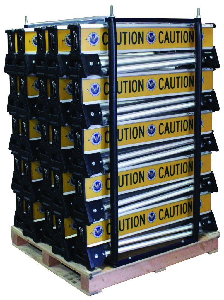 Retracta-Cade barricades stacked on a pallet