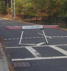 Retracta-Cade closing a road at a college